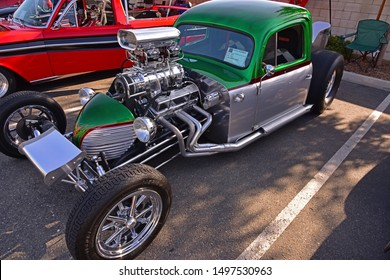 BAKERSFIELD,CA - SEPTEMBER 1, 2019: Today's Hot Rods, Burgers & Beers event, draws this highly modified racing machine. It's hard to believe it started life as a 1949 Ford sedan!
