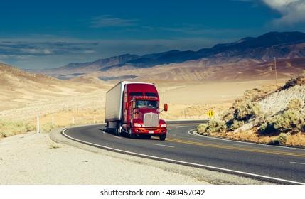 BAKERSFIELD,CALIFORNIA, USA JUNE 13, 2015: Truck on highway. BAKERSFIELD,CALIFORNIA, USA. TONED Image.