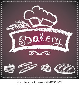 bakery background, elements,card. chalkboard style