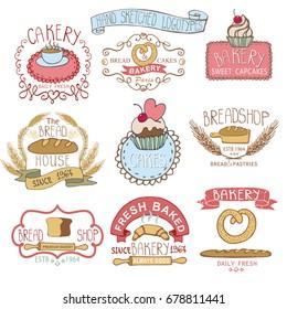 Bakery Badges,Labels,logos.Vintage Retro  hand sketched doodles design elements (bread, loaf, wheat ear, cake icons). Logotype.Illustration