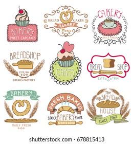 Bakery Badges,Labels,logos.Vintage Retro  hand sketched doodles design elements (bread, loaf, wheat ear, cake icons). Logotype,doodle cakery,baked shop.Illustration