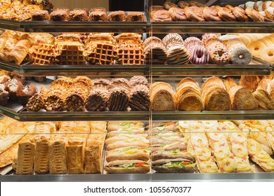 Bakery bread pastry sweets display window case