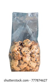 Bakery cookies in plastic bag packaging isolated on white background.