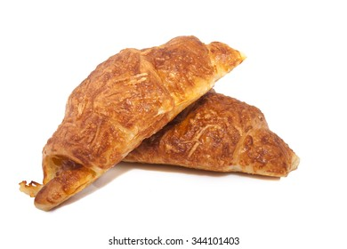 Bakery croissants closeup isolated on a white background