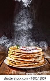 Bakery. Fresh bakery. Pancakes. International Pancake Day on 28 February. Russian pancakes, Shrovetide, Mardi Gras