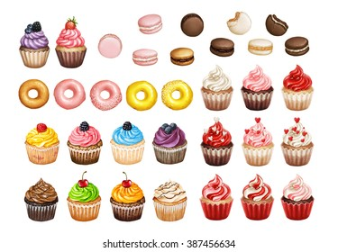 Bakery and pastry products icons set with various sorts of cupcakes, doughnuts and macarons for bakery shop or food design on white isolated background