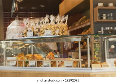 Bakery with rolls and cakes on display, Germany