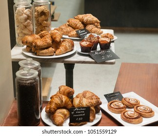 Bakery shop display croissant and pastry with price tags