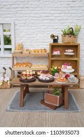 bakery shop interior, dollhouse miniature.