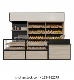 Bakery stand with coffee machine