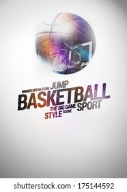 Baketball sport invitation poster or flyer backgraound with space
