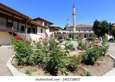 Bakhchisarai, Crimea, June 20, 2017. Blooming roses in the Khan's Palace garden on a sunny summer day