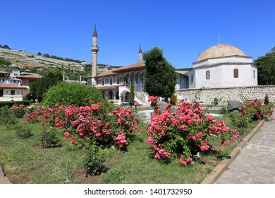Bakhchisarai, Crimea, June 20, 2017. Blooming roses in the garden at the Khan's Palace on a sunny summer day