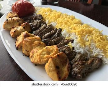 Bakhtiyari kabob - Marinated boneless chicken breast and beef striploin tender.