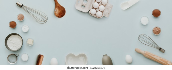 baking background with bake ingredients, banner for website on pastel background, top view, flat lay, copy space. Preparation Baking Kitchen Table Ware