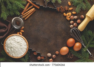 Baking background with ingredients for cake recipe. Culinary concept. Flat lay with blank space.