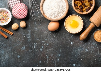 Baking background with ingredients. Cooking concept