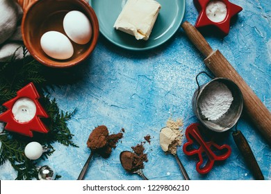 Baking background  Background layout with free text space Top view flat lay style Superfoods in small bowl Organic food Cakes made from natural products