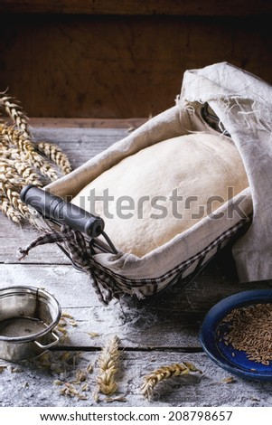 Baking Bread Dough Proofing Basket On Stock Photo (Edit Now