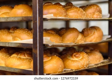 Baking bread in a factory.