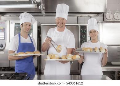 Baking bread in an industrial restaurant kitchen or bakery