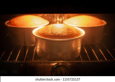 Baking cake in oven with thermometer