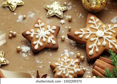 baking of christmas cookies. decorative christmas gingerbreads and spices