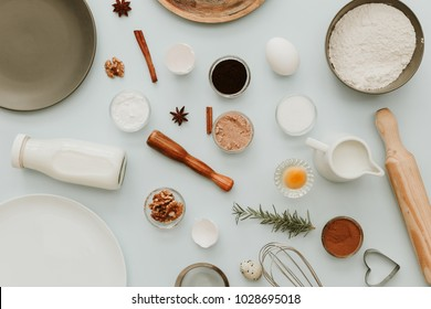 Baking or cooking background frame. Ingredients, kitchen items for baking cakes. Kitchen utensils