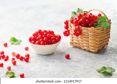 Baking cup and a little wicker basket with fresh red currants (ribes rubrum).