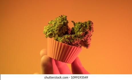 baking cupcakes and cookies from medical marijuana close-up