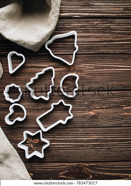 baking forms on a wooden background