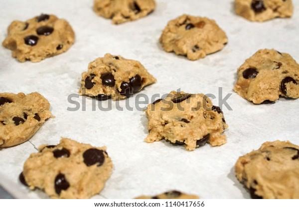 baking fresh homemade chocolate chip cookies on tray
