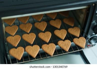 Baking heart shape cookies