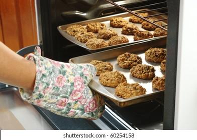 baking homemade oatmeal cookies