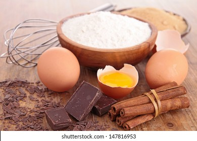 baking ingredient on wood background