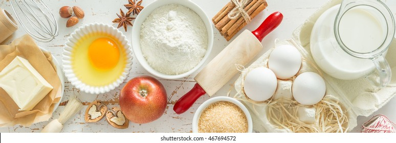 Baking ingredients background