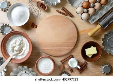 Baking ingredients background, baking concept, view from high angle