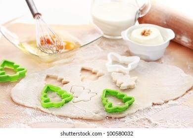 Baking ingredients for cake or cookies