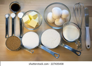Baking Ingredients on Wooden Board