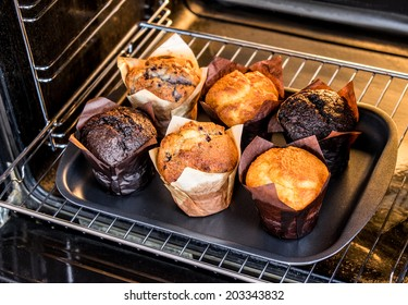 Baking muffins in the oven. Cooking in the oven.