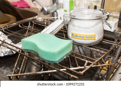Baking soda or sodium bicarbonate are effective safe cleaning agent in household kitchen such as oily oven and utensils