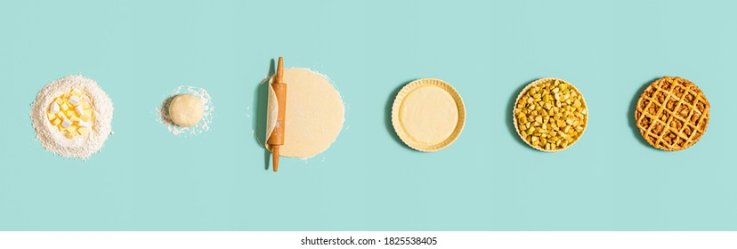 Baking steps for an apple pie, isolated on a green mint background. Top view with step by step preparation of an apple tart. Homemade dessert recipe.