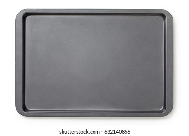 Baking tray with non-stick coating, top view, close-up.