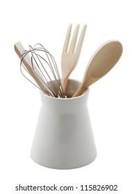 baking utensils isolated on white background
