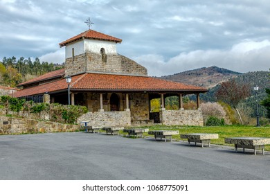 Bakio, Spain - April 08, 2018: hermitage of San Pelayo (San Pelaio baseliza) in Baquio (Vizcaya, Spain) is a Romanesque hermitage that is located in the way that, bordering the coast
