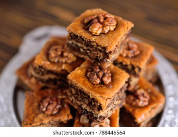 baklava - eastern confectionery made of puff pastry with nuts and honey.