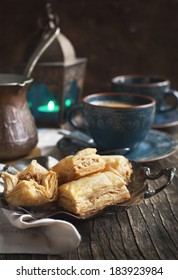 Baklava with honey and nuts - traditional Turkish dessert