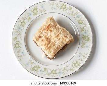 Baklava on a Fine China Plate