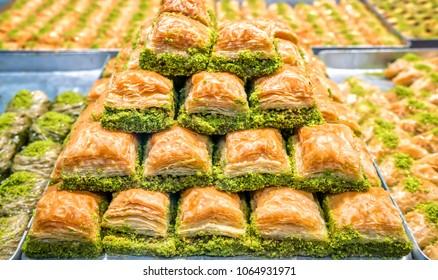 Baklava pastry dessert. Traditional turkish dessert