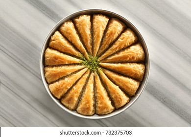 Baklava with pistachio. Turkish traditional dessert, havuc dilimi
